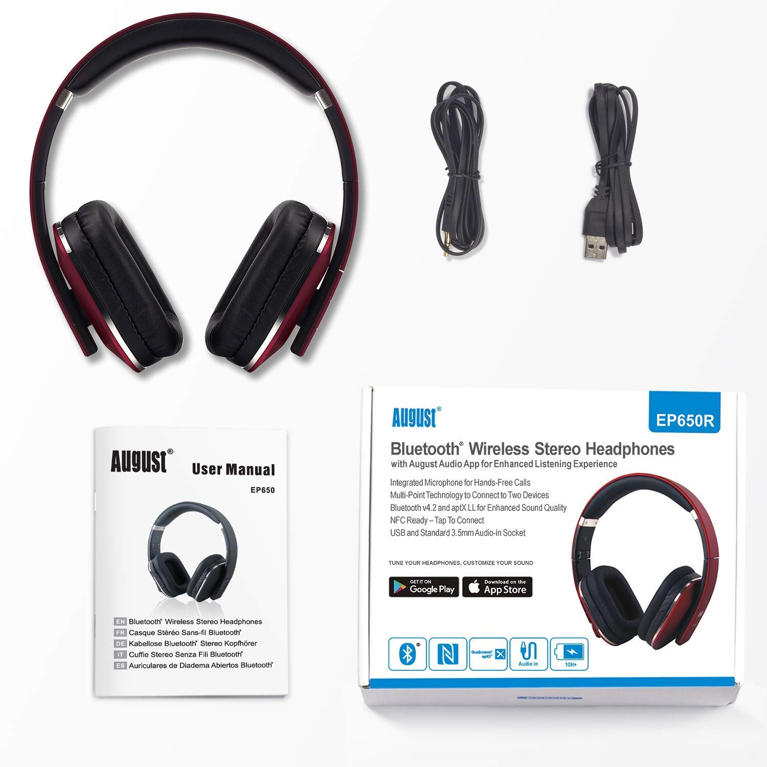 581f8351a78 Over Ear Bluetooth Wireless Headphones - August EP650 - Enjoy Bass Rich  Sound and Optimum Comfort from this Wireless Over Ear Headset with NFC and  aptX LL ...
