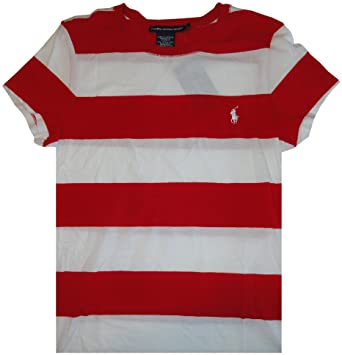 Image Unavailable. Image not available for. Color  Women s Ralph Lauren  Sport Short Sleeve Red and White Striped Shirt ... e2d27db383