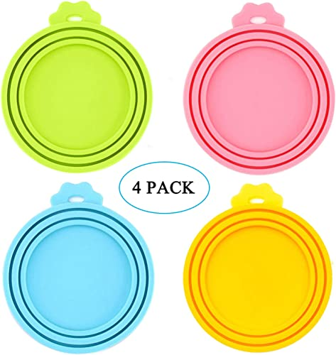 IVIA PET Food Can Lids, Universal BPA Free Silicone Can Lids Covers for Dog and Cat Food, One Can Cap Fit Most Standard Size Canned Dog Cat Food 4 Pack Multicolor
