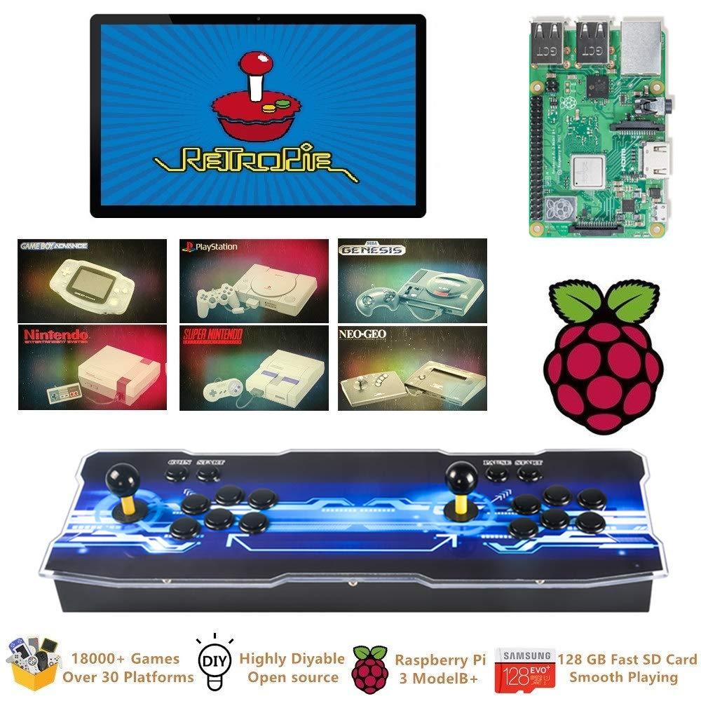 TAPDRA Raspberry Pi 3 Model B+ (B Plus) Arcade Cabinet Machine Video Game Console Complete Full Kit RetroPie Emulation Station ES with 18000+ ...