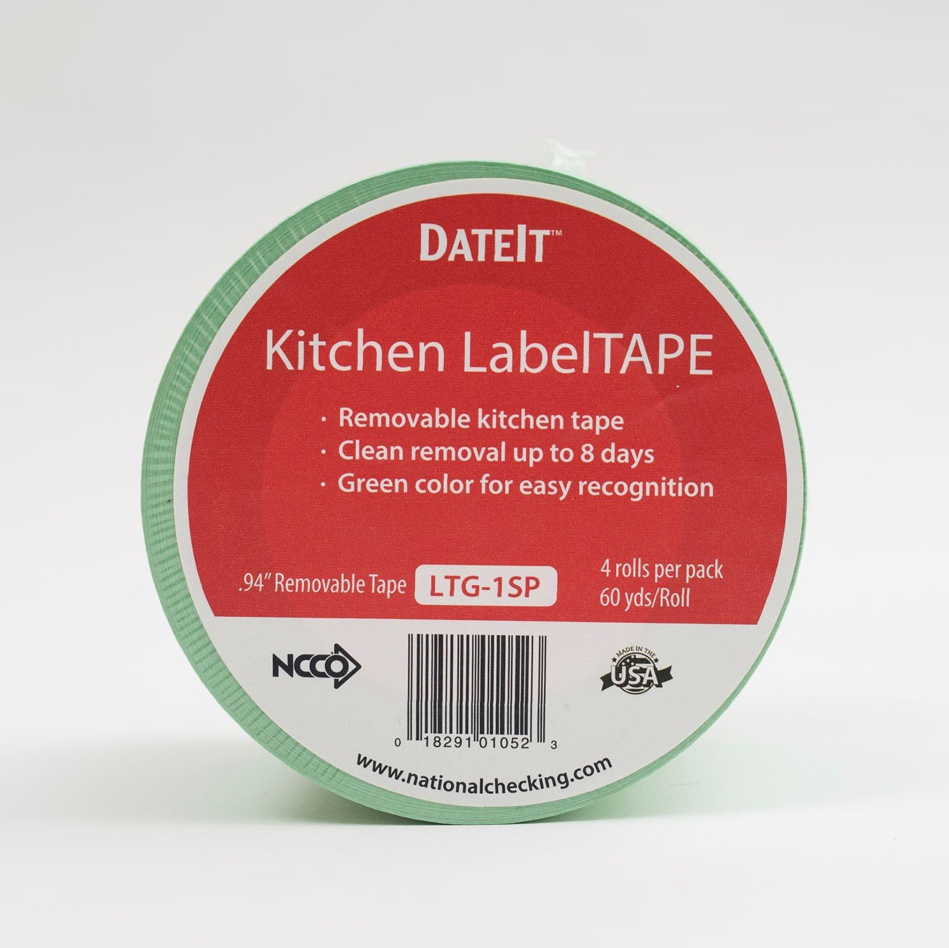 """NCCO Food Safety Green Kitchen Labeling Tape – 1"""" inch wide by 60 yards long – (4 rolls per pack) LTG 1SP"""