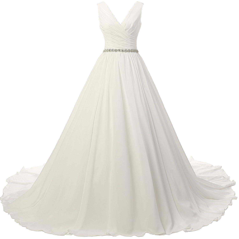 JAEDEN Ball Gown Wedding Dress for Bride Chiffon V Neck Simple Bride Dress D-W110