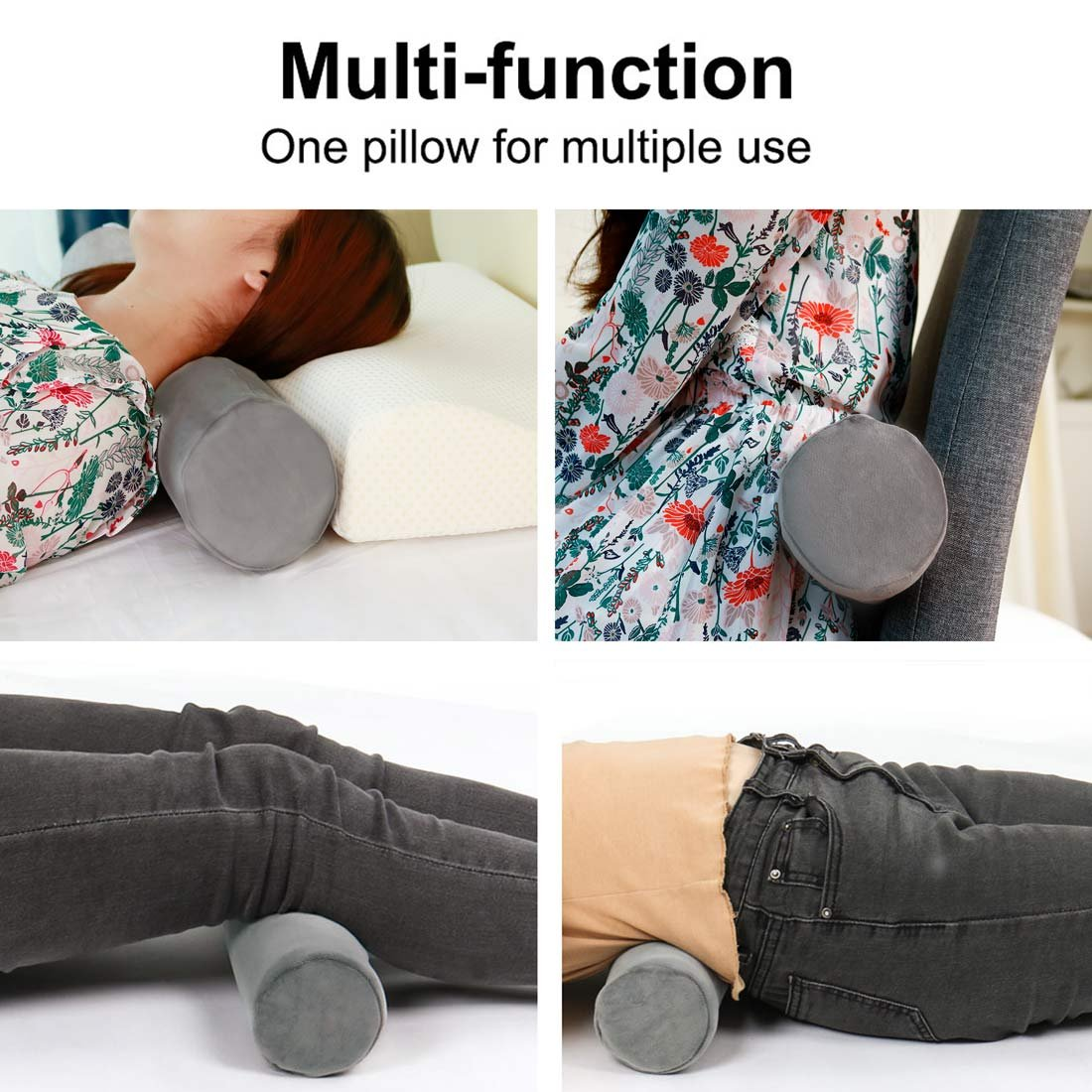 15 x 3, Dark Blue uxcell/® Round Memory Foam Pillow Cervical Roll Bolster Neck Head Support Pillow Lumbar Bolster Leg Spacer with Washable Flannel Cover