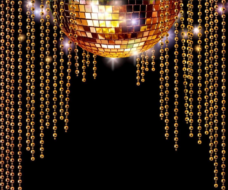 レトロパーティー背景 ゴールドディスコミラーボール ゴールドビーズ ブラック背景 70年代ダンステーマ 写真スタジオ写真 10x8フィート   B07MV4MJ29