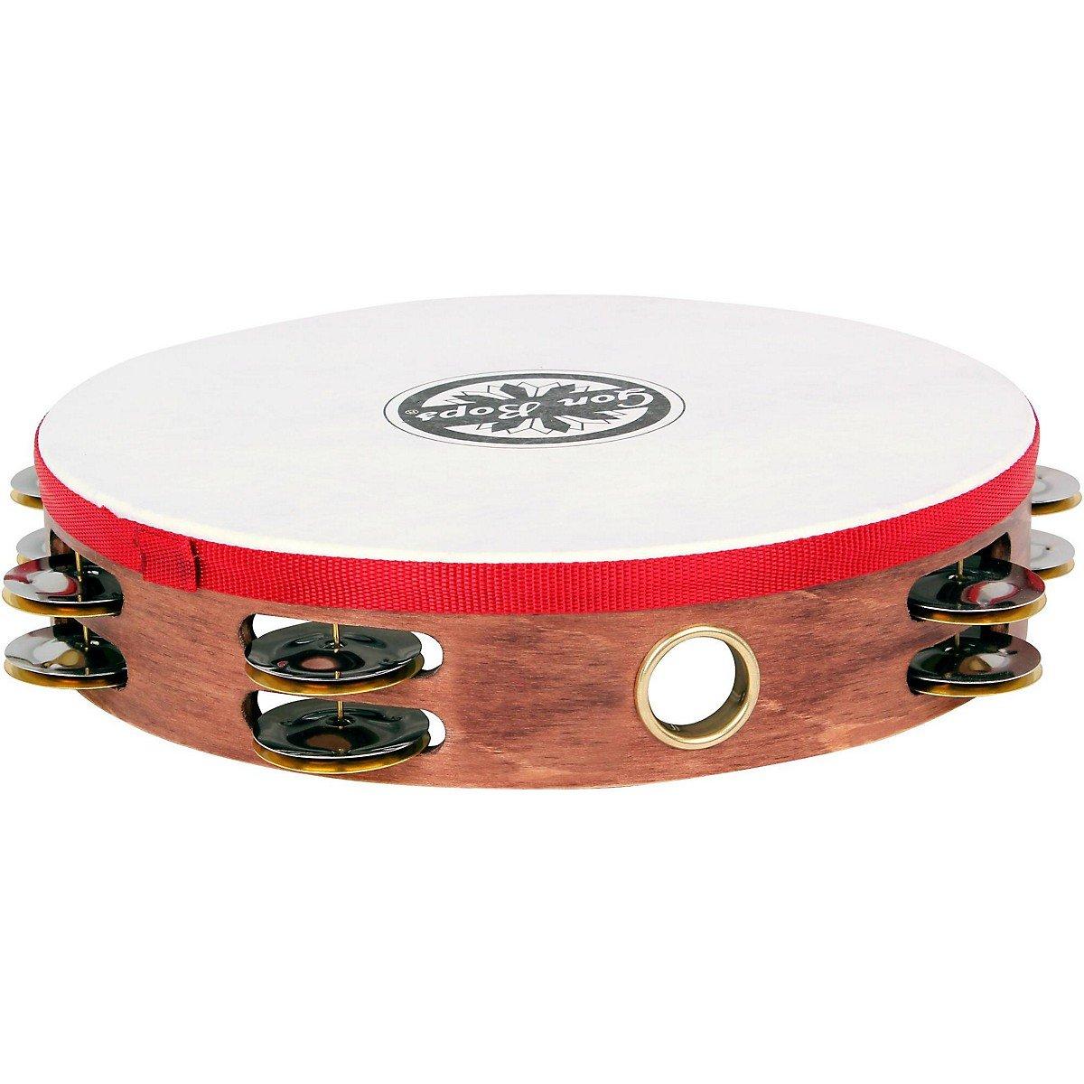 Gon Bops 10'' Wood Tambourine with head (Double Row Jingles) (PTAMWH2)