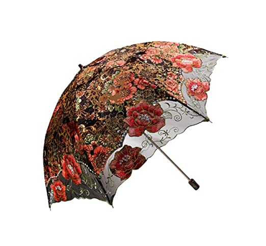Make a Victorian Carriage Parasol  Lace Embroidered Flocking flower Pattern Two Folding Anti-UV Sun Umbrella Superior Uv Protection Parasols                               $43.99 AT vintagedancer.com