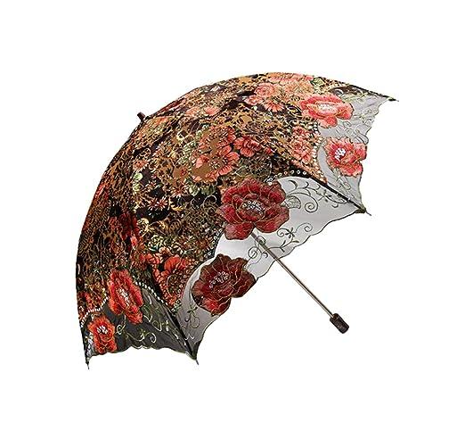 Vintage Style Parasols and Umbrellas  Lace Embroidered Flocking flower Pattern Two Folding Anti-UV Sun Umbrella Superior Uv Protection Parasols                               $43.99 AT vintagedancer.com