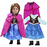 "Anna Frozen Inspired Doll Outfit (3 Piece Set) - Clothes Fit American Girl & 18"" Dolls & Include Dress, Shawl, Shoes - Premium Costume Apparel for Dolls"