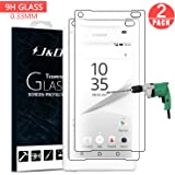 Z5 Compact Screen Protector, J&D SONY Xperia Z5 Compact Glass Screen Protector [Tempered Glass] HD Clear Ballistic Glass Screen Protector for SONY Xperia Z5 Compact (2 Packs)