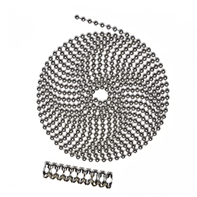 10 Foot Length Ball Chain, Number 10 Size, Nickel Plated Brass, 10 Matching B Couplings: Home Improvement