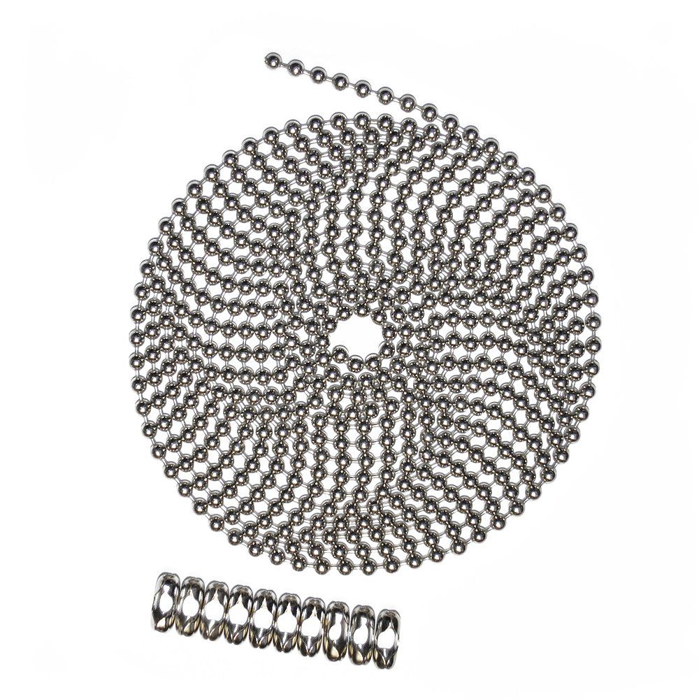 10 Foot Length Ball Chain Number 10 Size Nickel Plated Brass 10 Matching B Couplings
