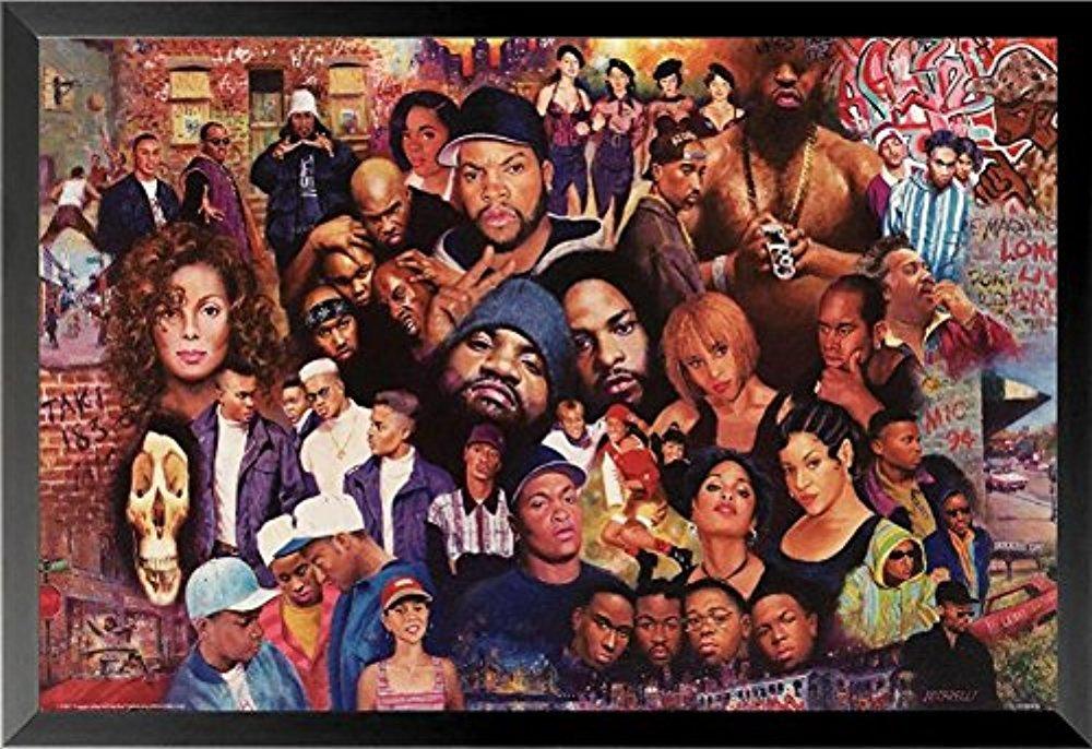 Buyartforless Framed Legends of Rap and Hip Hop 80'Sand 90's 24x16 Art Print Poster