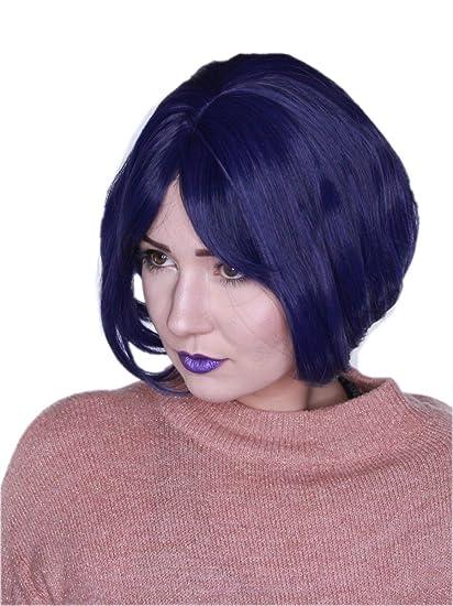 Prettyland C970 - negro violeta oscuro barriendo peluca cheeky bob corto BOB peluca