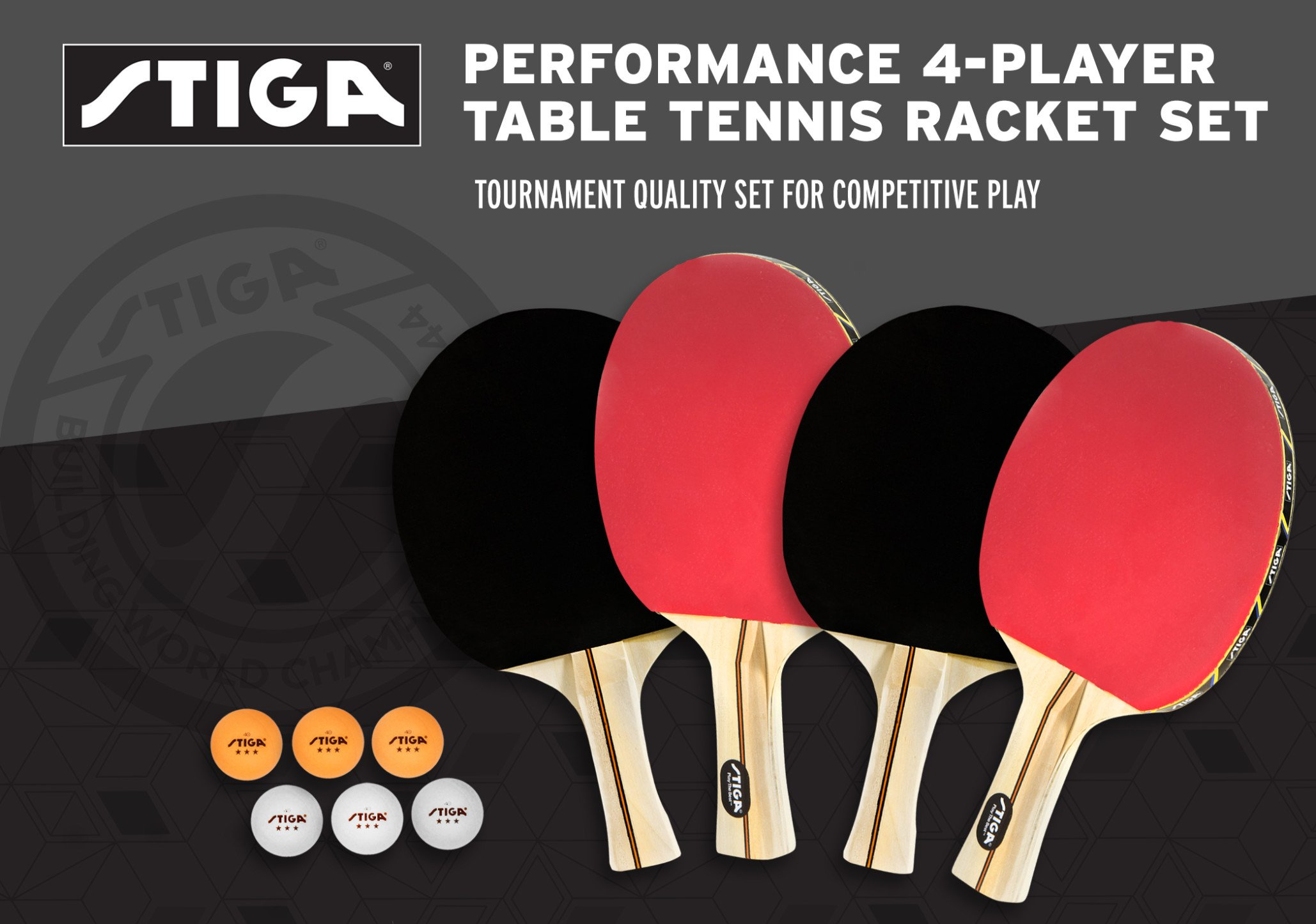 STIGA Performance 4-Player Table Tennis Racket Set with Inverted Rubber for Increased Ball Control and Added Spin by STIGA (Image #3)