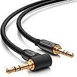deleyCON 2m HQ Stereo Audio Klinken Kabel 90 Grad gewinkelt - 3,5mm Klinken Stecker zu 3,5mm Klinken Stecker (90°) - METALL - vergoldet