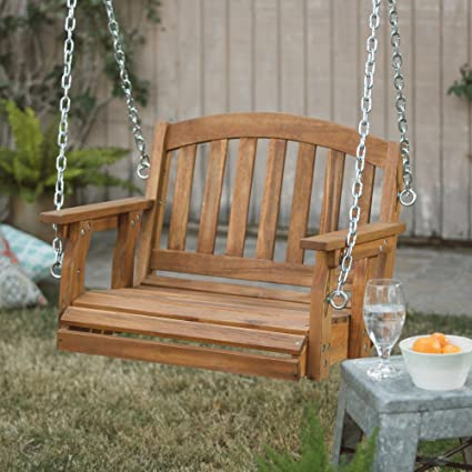 Porch Swing Patio Premium Swings Outdoor Wooden Single Person Bench  Furniture In 2 Ft Hanging Modern
