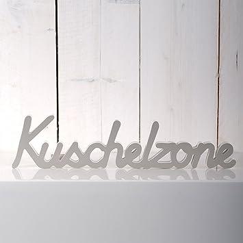 Deko Schriftzug Kuschelzone Wanddekoration Aus Holz 40 Cm Weiss