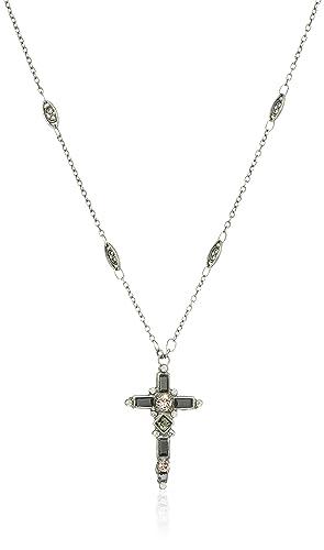 "Sorrelli Core Antique Silver Tone Crystal Noir Delicate Cross Pendant Necklace, 17"" + 4"" Extender"