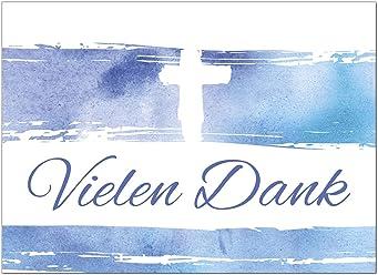 Kommunion Konfirmation 15 x Dankeskarten mit Umschlag Zauberhafter Verlauf Tauben Fisch Kreuz blau gelb Danksagung//Bedanken//Danke sagen zur Taufe kirchlich