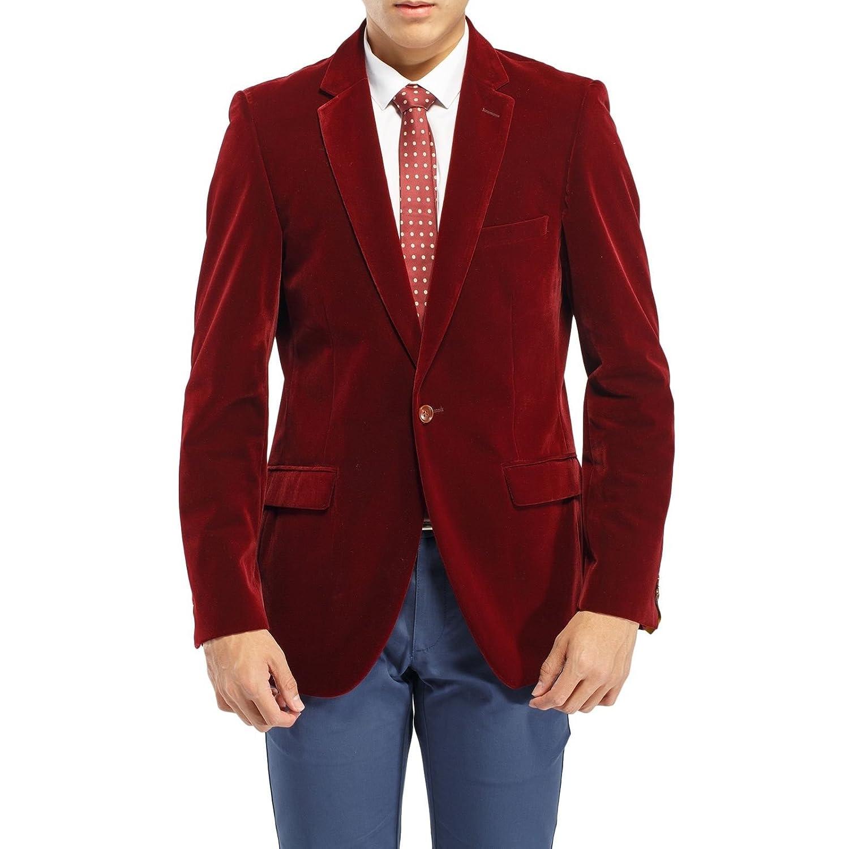 Robelli Men's Velvet Single Breasted Blazer Suit Jacket