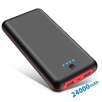 GRDE Power Bank 24000mAh, Cargador Portátil con Doble 2.1A Puertos, Carga Rápida Batería Externa, 4 LED Indicadores para Teléfono, Tablet etc