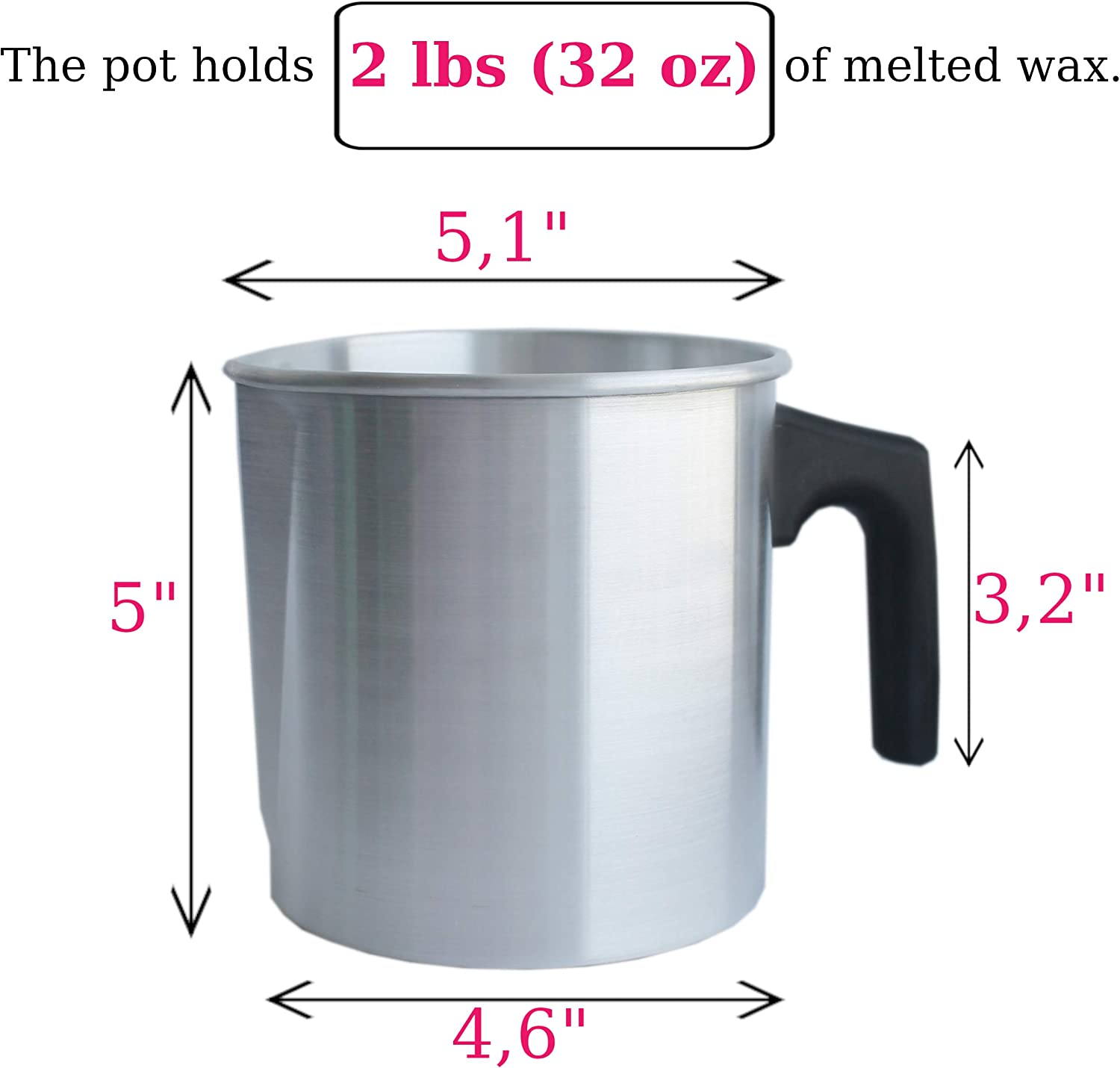 Candle Wax Melting and Pouring Pot-MINI 1-1//2 lb size