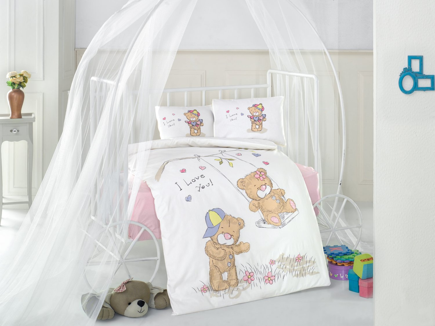 Masal V1 Pink Bears Baby Cot Bed Duvet Cover Set, 100% Cotton Soft and Healthy 4-Pieces Bedding Set