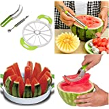 TRIPLE PACK- #1 Ultimate Melon Cutter TRIPLE Set- Watermelon Slicer Knife, Cantaloupe Melon Cutter & Melon Baller For cutting all types of melons with EASE- NON-slip grip handle & STAINLESS STEEL
