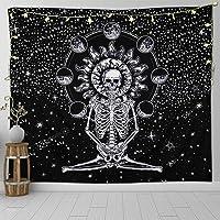 Gspirit Cráneo Tapiz Meditación Esqueleto Estrellado Tapiz Estrellas