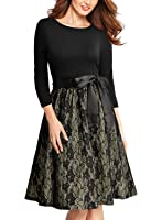 Miusol Women's Retro Floral Lace Bow Cocktail Party Swing Dress