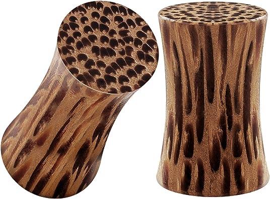 BIG GAUGES Pair of Coconut Wood Double Flared Saddle Flesh Tunnel Piercing Jewelry Stretcher Ear Plug Earring Lobe