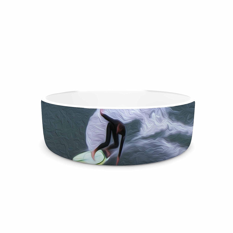 KESS InHouse Nick Nareshni Surfers Ride  bluee White Pet Bowl, 7