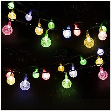 LED Solar Lichterkette Kristall Kugeln 4.5 Meter 30er Mehrfarbig,  Mr.Twinklelight Außerlichterkette Deko Für