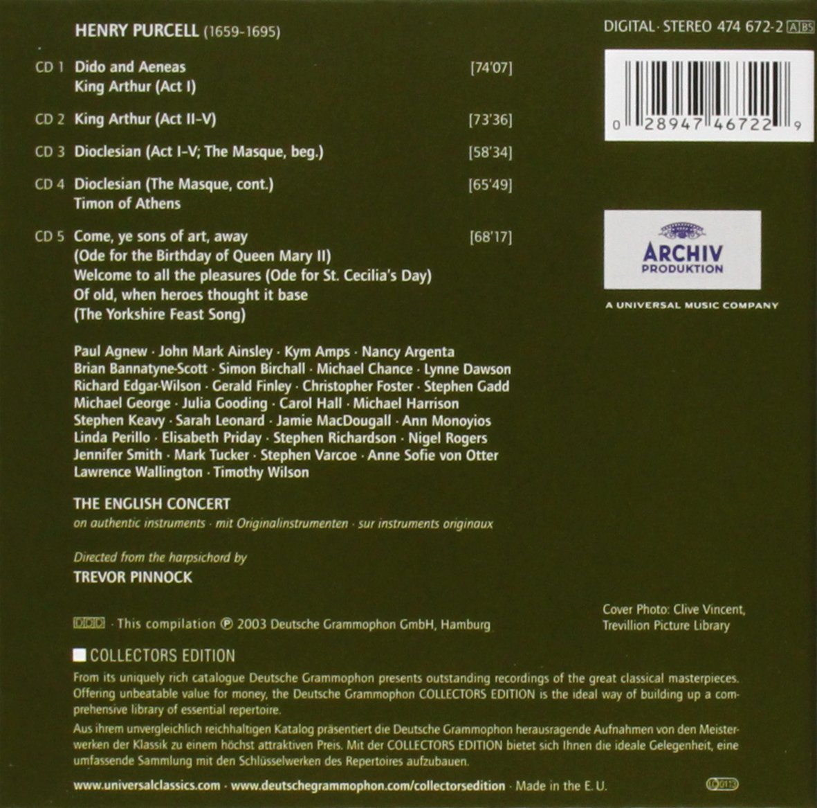 Purcell: Dido & Aeneas / King Arthur / Dioclesian / Timon of Athens / 3 Odes by Archiv Produktion