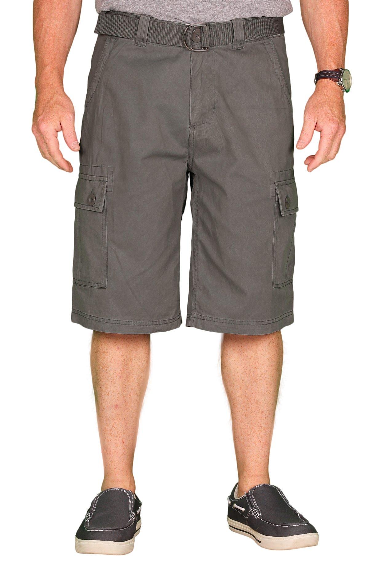 One Tough Brand OTB Men's Cotton Cargo/Camp Short, Light Grey, Size 34