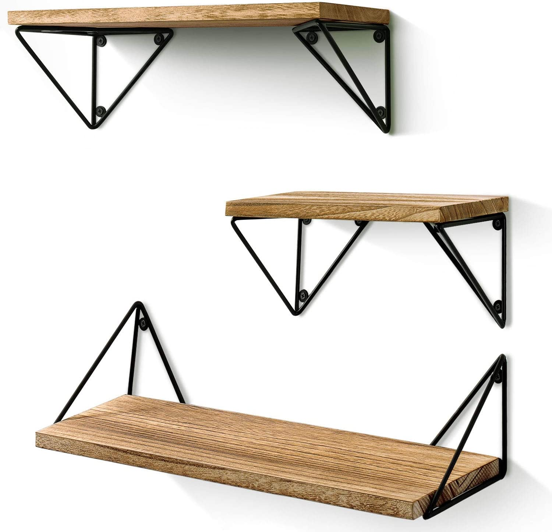 Shop BAYKA Floating Mounted Set of 3 Rustic Wood Wall Shelves from Amazon on Openhaus