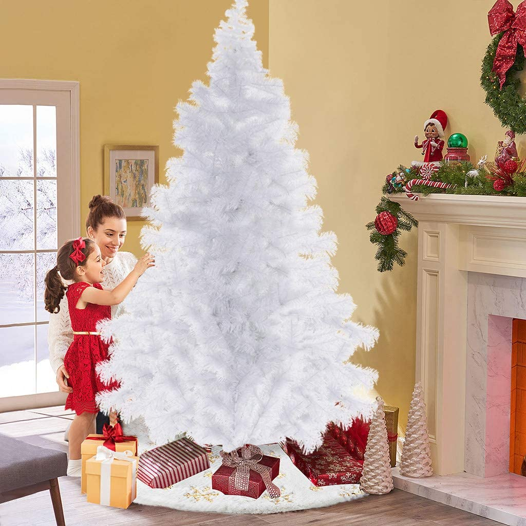 Us Fast Shipment Beautiful Lighted Christmas Tree,6Ft 7Ft Xmas Tree With Real Pines Artificial Folding Christmas Trees Ornaments For Home Office Hotel Decorations,Easy To Assemble (White, 7 Ft)