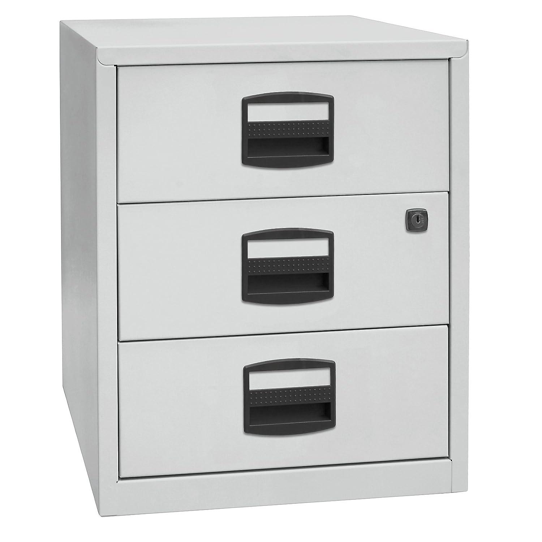 Bisley Home mobiler Beistellschrank PFA, 3 Universalschubladen, Metall, 645 Lichtgrau, 40 x 41.3 x 52.8 cm