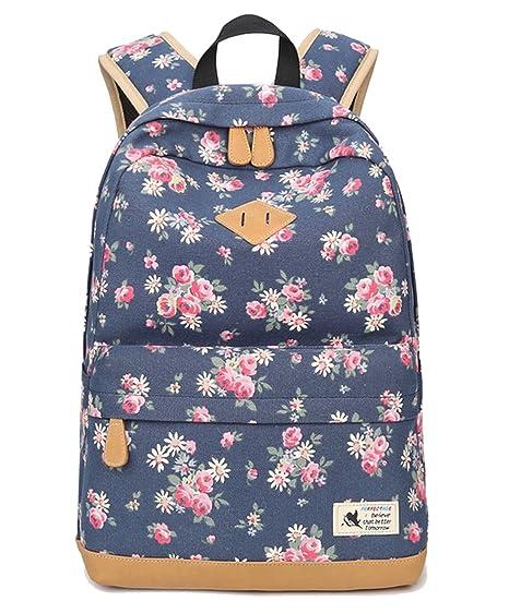 e5324ccfdfd80 DNFC Canvas Rucksack Damen Mädchen Schulrucksack Fashion Schulranzen  Teenager Schultaschen Blumen Freizeitrucksack Mode Daypack Backpack für