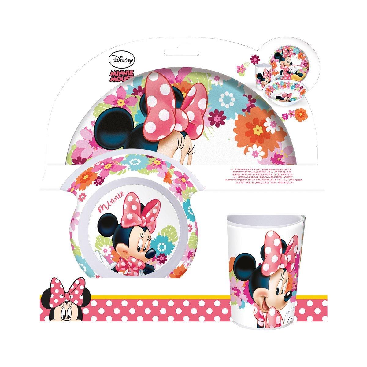 P:os 21707 - Set de desayuno (3 piezas: plato, cuenco y vaso), diseñ o de Minnie Mouse diseño de Minnie Mouse