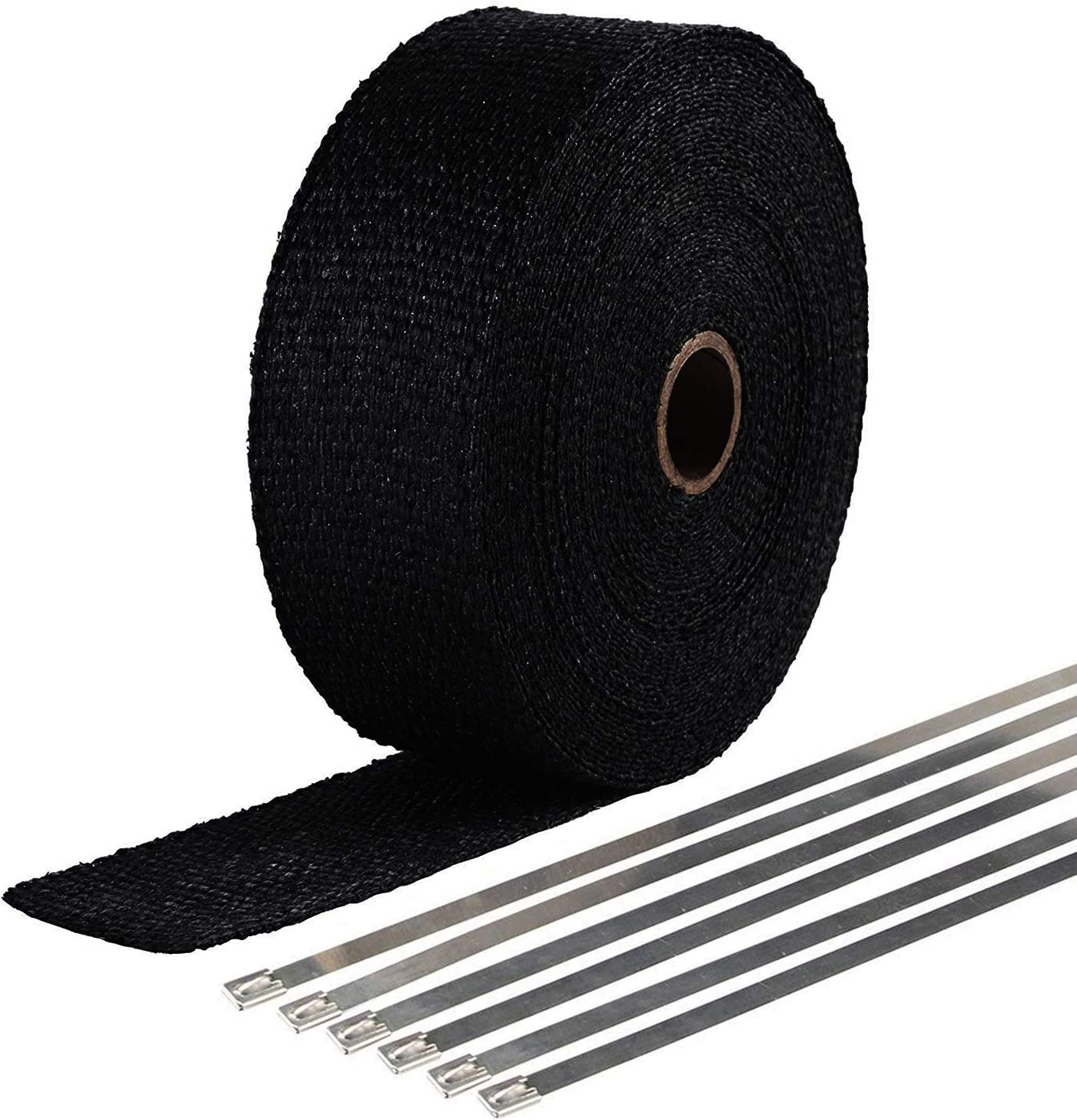 4 x 25ft Roll VViViD Black Fiberglass Heat Shielding Exhaust Wrap Roll Including 10 Free Stainless Steel Locking Zip Ties
