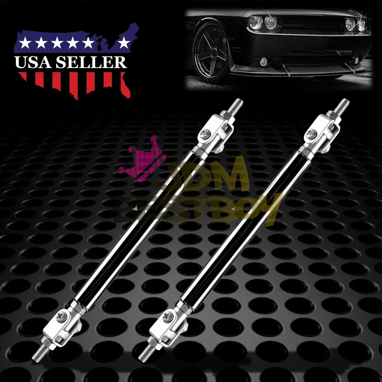Black 6''-8'' Adjustable Front/Rear Frame Bumper Lip Splitter Strut Rod Support Bar by JDMBESTBOY
