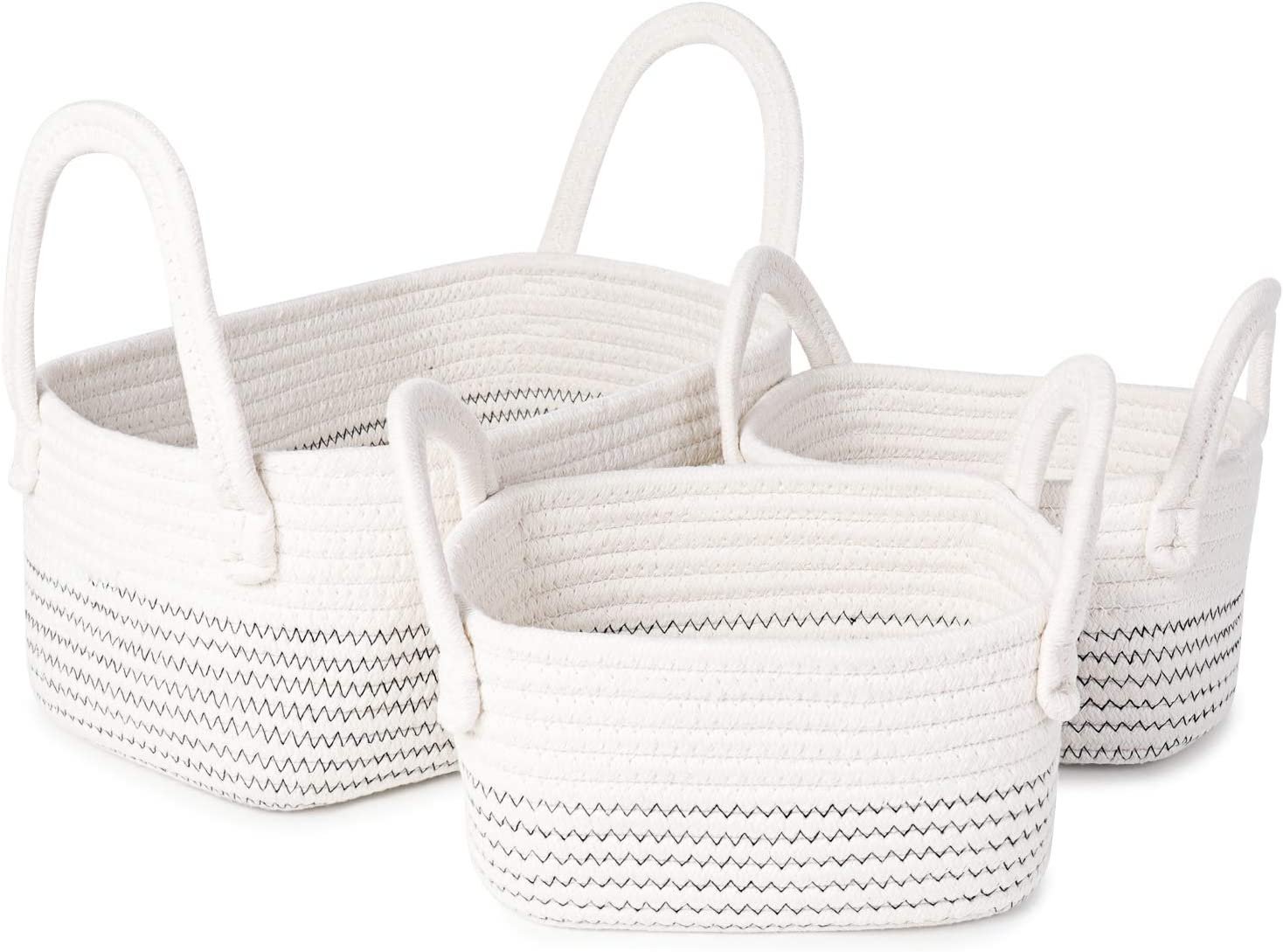 ANMINY 3PCS Woven Cotton Rope Storage Baskets with Handles Large Small Washable Basket Set Decorative Desktop Organizer Storage Bins Boxes Nursery Baby Kid Toy Blanket Clothes Laundry Containers