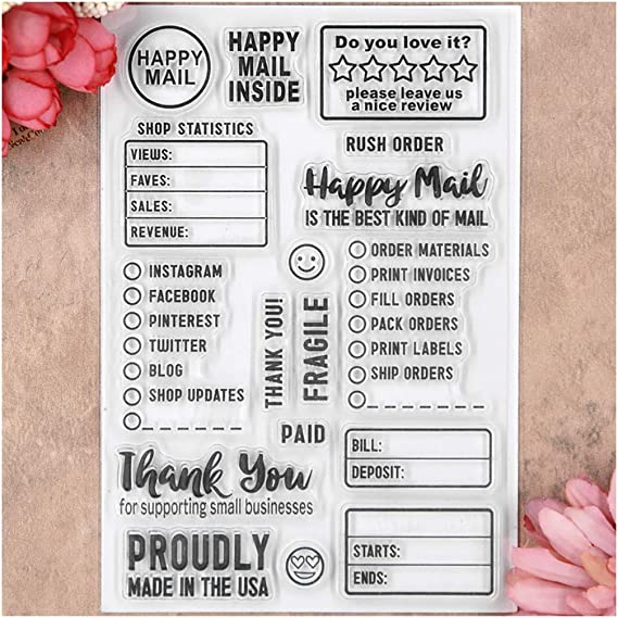 1//2 Inch Mini Happy Mail Envelope Mailbox with Heart Rubber Stamp for Stamping Crafting Planners