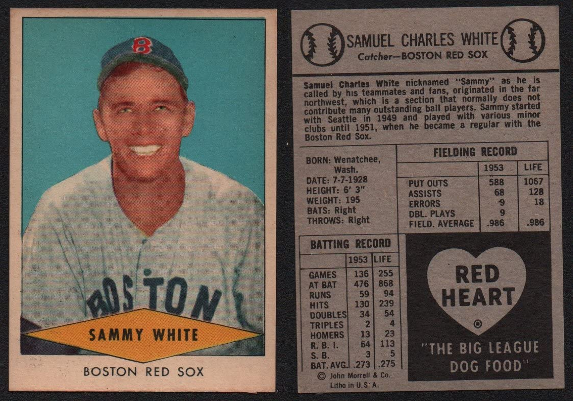 1954 Red Heart Dog Food Regular (Baseball) Card# 31 Sammy White of the Boston Red Sox ExMt Condition