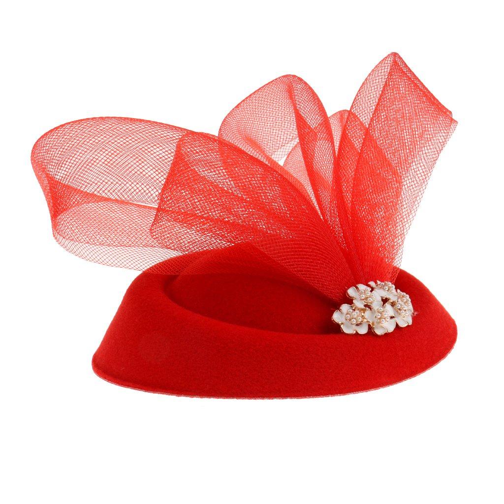 Femmes Chapeau Bibi Floral Mesh Perles Accessoire Cheveux pour Soirée Bal Cocktail Mariage - Rouge Generic