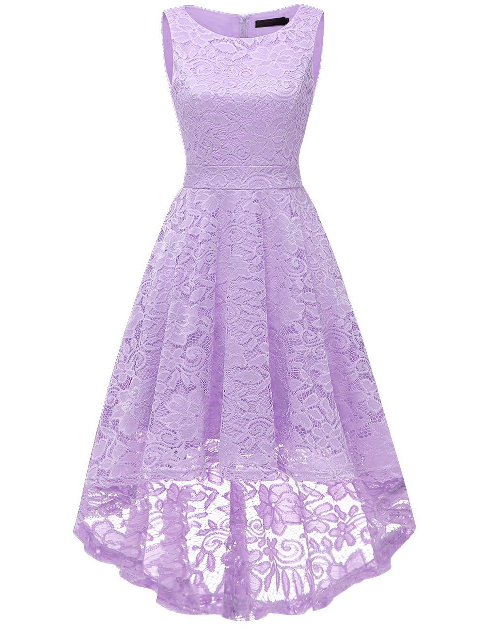 DRESSTELLS Women's Homecoming Vintage Floral Lace Hi-Lo Cocktail Formal Swing Dress Dress Lavender XL
