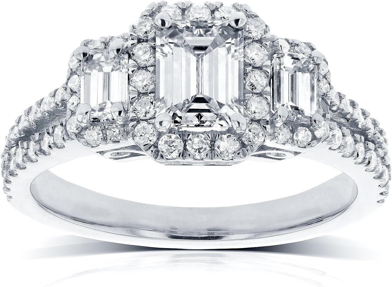 Kobelli Emerald Cut Diamond 3 Stone Halo Engagement Ring 1 1 5 Ctw In 14k White Gold Amazon Com