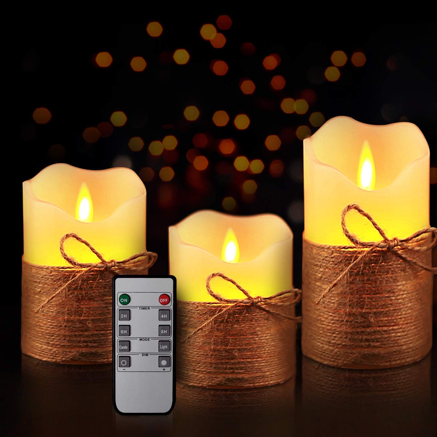 Yinuo Mirror Flameless Candles, LED Battery Operated Ivory Pillar Candles Real Wax Flickering Moving Wick Electric Candle Sets with Hemp Rope Remote and Cycling 24 Hours Timer, 4'' 5'' 6'' Pack of 3