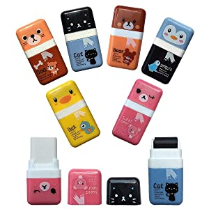 Pencil Erasers,Pencil Eraser Shaving Roller Case for Easy Pick Up and Removal | Animal Themed Cute and Fun Party Favor and School Supplies for Kids,Christmas stocking filled gift(6 Pc)